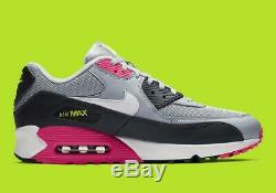 Nike Air Max 90 Essential Aj1285 020 Loup Gris / Blanc / Rose Précipitez / Volt / Noir