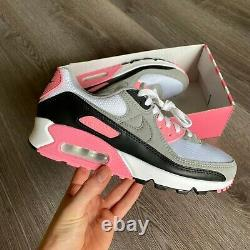 Nike Air Max 90 White Grey Pink Black Trainers Taille Uk7.5 Us8.5 Eur42 Cd0881-101