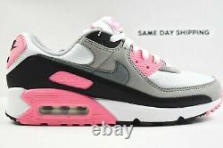 Nike Air Max 90 (taille Femme 8.5) Chaussures Cd0490 102 White Grey Black Rose Pink