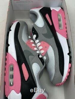 Nike Air Max Taille De 90 Femmes 7 No Box Top Cd0490-102 Blanc Gris Noir Rose