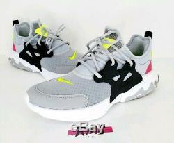 Nike Chaussures De Course React Presto Loup Gris Noir Rose Rush Volt Bq4002 Youth 7y
