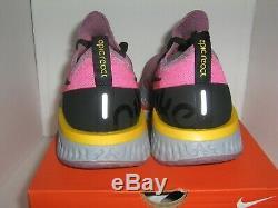 Nike Epic React Flyknit Sz 12 Plum Poussière Noir Rose Gris Courir Aq0067-500