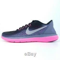 Nike Flex 2017 Rn Noir Métallisé Gris Rose Femmes Chaussures De Course 898476 009 Sz