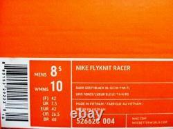 Nike Flyknit Racer Gris Foncé / Noir Bleu Brillant Rose Taille Homme 8.5 526628-004