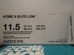 Nike Kobe X 10 Elite Basse Mambacurial Noir Wolf Gris Rose Flash 747212-010 11.5