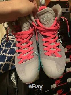 Nike Lebron 9 Elite South Beach Vdz Sz10 Og Tout Gris Rose Noir Fibre De Carbone