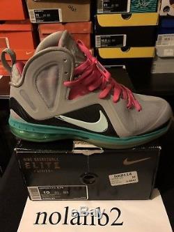 Nike Lebron IX 9 P. S. Elite South Beach Taille 10 Gris Noir Rose Turquoise Avec Boîte