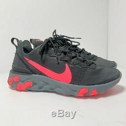 Nike React Element 55 Noir Rouge Solaire Rose Cool Gris Running Hommes 7 Femmes 8.5