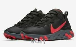 Nike React Element 55 Solaire Rose Rouge Noir Cool Gray Course À Pied Bq6166-002 Hommes