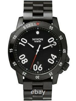 Nixon Ranger Tout Noir A506 001 44mm En Acier Inoxydable Montre Express Post Gratuit