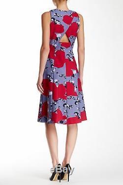 Nouveau 2 375 $ Robe Sans Manches Imprimée Thakoon Floral Gris / Rose / Noir Sz 12 # N575
