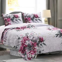 Nouveau! Chic Moderne Violet Gris Noir Rose Aquarelle Abstraite Fleur Set Quilt