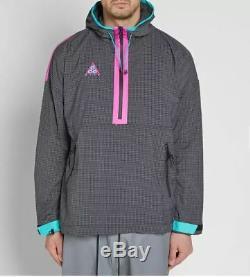 Nouveau Hommes M Medium Nike Acg Woven Hoodie Pullover Jacket Gris Rose Noir 931907