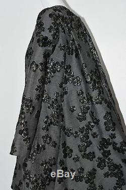 Nouveau Lela Rose Robe Tunique En Jacquard Gris Noir À Fleurs Métallisées Dorées