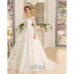 Nouveau Mariage Blanc / Ivoire Robe Robe De Mariée Sur Mesure Épaules Manches Longues 2018