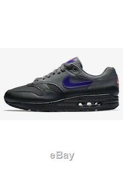 Nouveau Nike Air Max 1 Ar1249 002 Noir Gris Foncé Rose Violet Chaussures Homme Taille 10.5