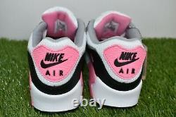 Nouveau Nike Air Max 90 Taille 10 Blanc Gris Rose Rose Noir Cd0881-101
