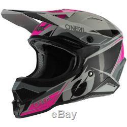 Nouveau Oneal MX 2020 Série 3 Stardust Noir / Gris / Rose Motocross Dirt Bike Casque