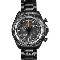 Nouveau Tx Timex Intelligent Aviator Fly Back, Black Ion Plaqué S/acier Montre-t2p103