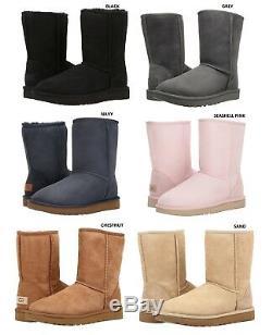 Nouveau Ugg Bottes Marque Femmes Classic Short II Chaussures Noir Châtaigne Gris Sable Marine