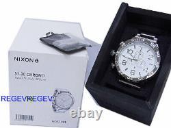 Nouvelle Montre Nixon 51-30 Chrono Highpolish Silver White A083-488 A083488 Authentique