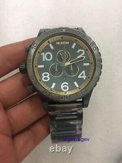 Nouvelle Montre Nixon 51-30 Gunmetal Spruce Brass A083-2789 Authentique A0832789 &