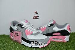 Nouvelle Nike Air Max 90 Taille 9 Blanc Gris Rose Rose Noir Cd0881-101