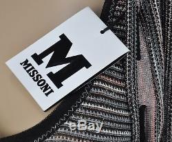 Nw Mini-robe Sexy Missoni Noir Gris Blanc Rose Débardeur En Maille À Encolure Dégagée Sz 8