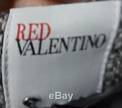 Nwt $ 450 Red Valentino Robe Fourreau En Tweed Grise, Rose Et Noire Avec Noeud Sz 2