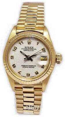 Or Jaune Jubilé Rolex Datejust Président Dial Ladies Watch 6917