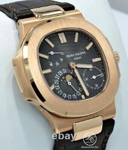 Patek Philippe Nautilus 5712r 18k Rose Gold Moon Phase Leather Watch Box Papers