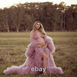 Plage Robes De Mariée Balayage Train Bridal Gowns Ruffles Pink Sleepwear Peignoir
