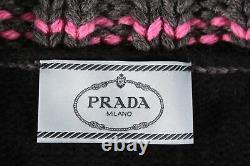 Prada -$1,675 Black Pink/gray Pom Pom Tie Front Sweater/cardigan (swoon!) 42/6