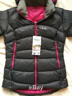 Rab Veste À Capuche Rembourrée Pour Femme Ascent Down 12 M Grey Black Pink Bnwt