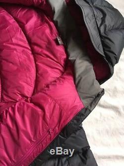 Rab Veste À Capuche Rembourrée Pour Femmes Ascent Down 12 M Grey Black Pink Bnwt