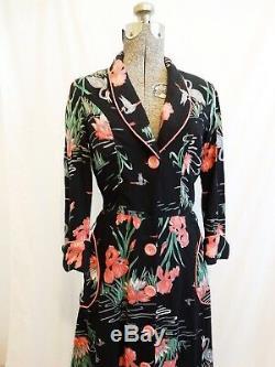 Robe Vintage Imprimée Grue Imprimée Fantaisie Rose Noir Gris Robe À Fleurs Poches