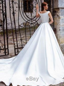 Robes De Mariée De Mariée Boule Robes Blanc Ivoire Encolure Élégante Princesse 2019