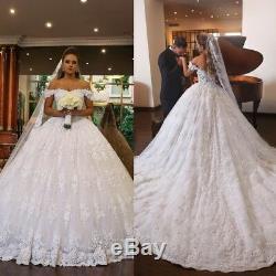 Robes De Mariée Mariage Blanc Boule Robes Dentelle Princesse Épaule Balayage Train