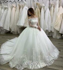 Robes De Mariée Mariage Robes Bal Encolure En Dentelle À Manches Longues Appliqués Plus
