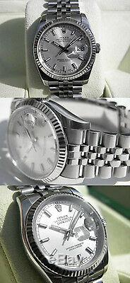 Rolex Datejust 116234 Montre Jubilee En Acier Blanc Et Or Blanc Avec Index Et Cadran Argenté De 36 MM
