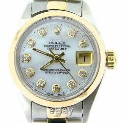 Rolex Datejust 14k Montre En Or Jaune Et Acier Blanc Mop Dial Diamond 6917