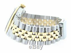 Rolex Datejust 1601 Mens Or Jaune Montre En Acier Inoxydable Black Diamond Dial