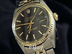 Rolex Datejust 2tone 14k Montre D'or En Acier Inoxydable Cadran Noir Jubilé Bande