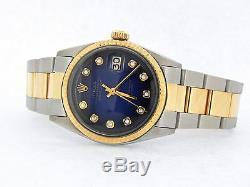 Rolex Datejust 2tone Or Et Acier Inoxydable Bleu Diamant Vignette 1601