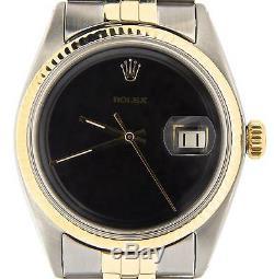 Rolex Datejust 2tone Or Et Acier Inoxydable Jubilé Avec Cadran Noir 1601