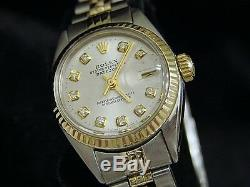 Rolex Datejust Deux Tons En Or Jaune 14k & Montre En Acier De Diamant D'argent 6917