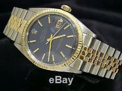 Rolex Datejust Deux Tons Montre En Or Jaune En Acier Inoxydable Cadran Bleu 1601