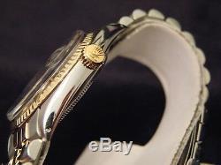 Rolex Datejust En Acier 2tone Or 14k Et Acier Noir Jubilé Bracelet 1601