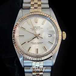 Rolex Datejust En Acier 2tone Or 14k Et Inoxydable Silver Jubilee Band 1601