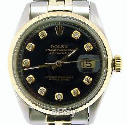Rolex Datejust En Acier 2tone Ovale De L'or Inoxydable Lien Black Diamond 1601